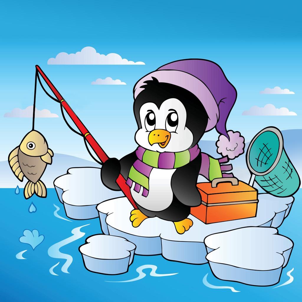 Рисунок пингвин с рыбой